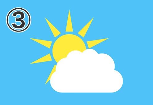 鋭い三角が伸びた太陽と雲