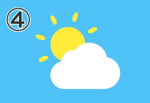 楕円の線が伸びた太陽と雲