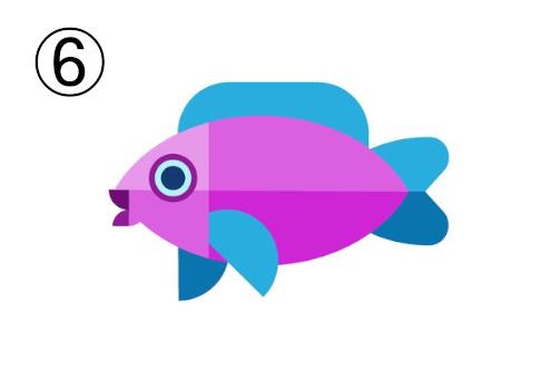 ヒレが水色の、紫の魚