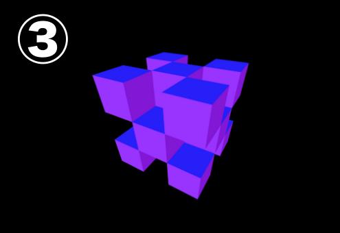 青、紫、暗い紫でできたキューブ
