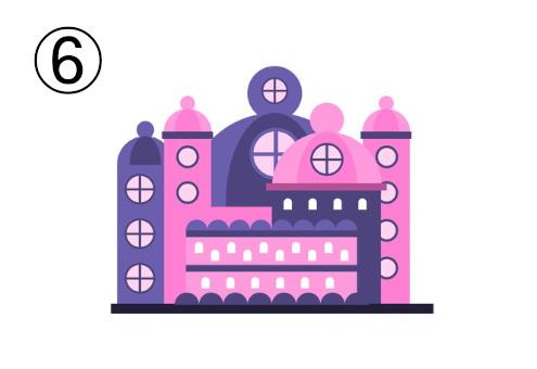 ピンクと紫の、丸みを帯びたお城