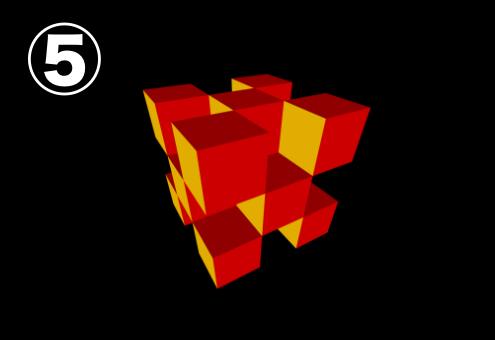 黄色、赤、赤紫でできたキューブ