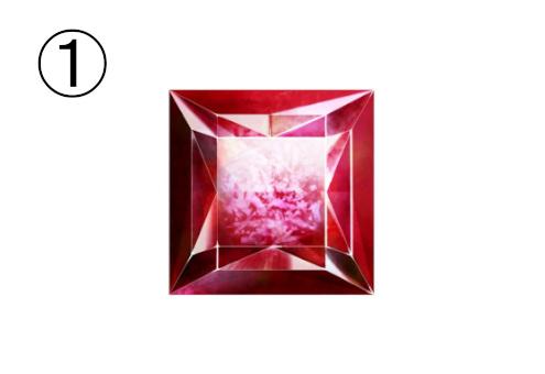 四角い赤い宝石