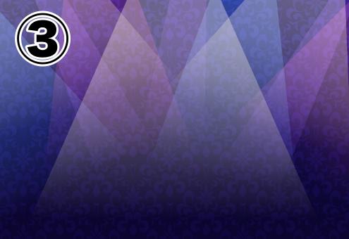 白、複数の紫の半透明な三角が合わさった、紫の背景