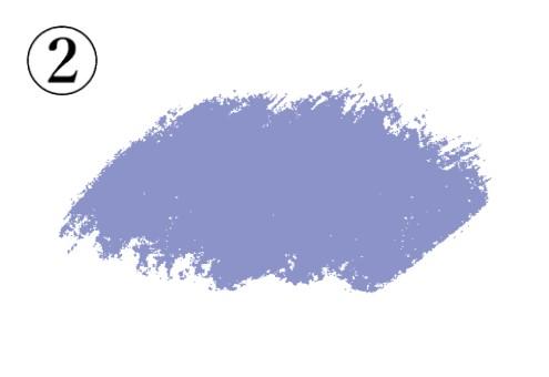 斜めに塗り進めたような紫の筆跡