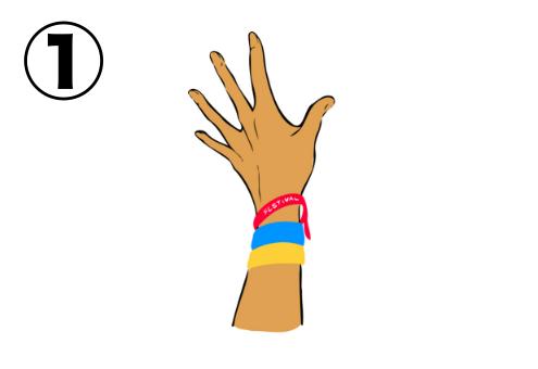 手のひらを開いた左手
