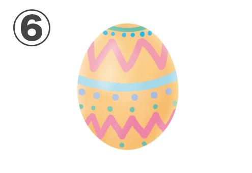 ピンクのギザギザ線、水色の線とドット、緑の線とドットがある、オレンジの卵