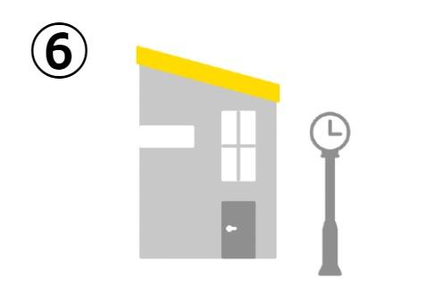 時計のそばの、斜めの黄色い屋根の家