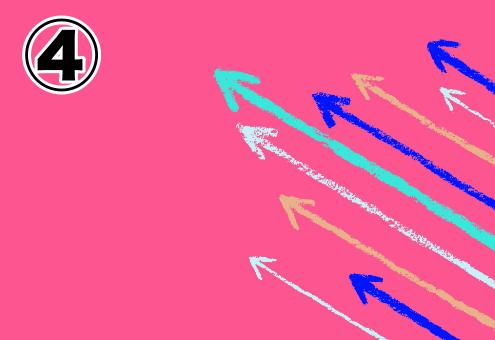 背景ショッキングピンク、エメラルド、青、オレンジ、水色の矢印