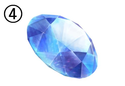 右上を向いて傾いた青い宝石