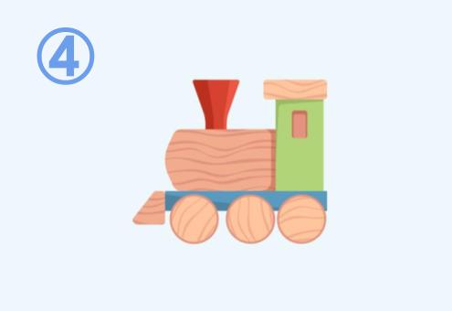 積み木でできた汽車