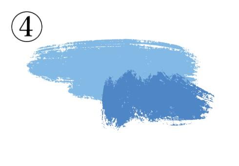 水色と青が重なった筆跡