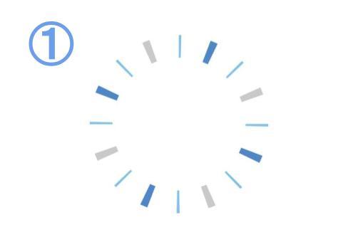 青、水色、グレーでできた集中線のような、隙間のあるフレーム