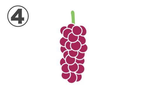 赤紫の、小粒で細長い房のブドウ