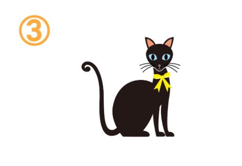 黄色のリボンをした黒猫
