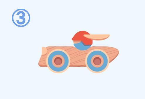 積み木でできたレーシングカー