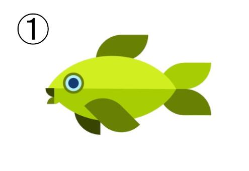 ヒレが抹茶色の、黄緑の魚