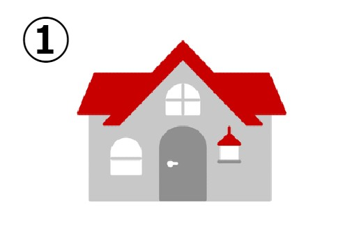 赤い屋根の大きい家