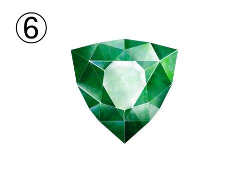 緑の逆三角のような宝石