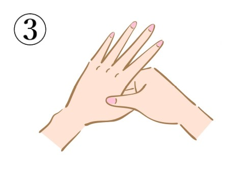 左手の親指と人差指の間のツボを押している絵