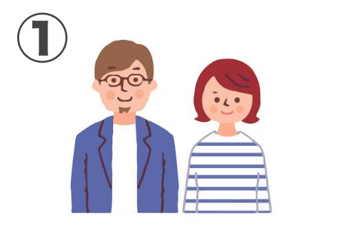 アッシュブラウンヘア、メガネ、顎髭、白シャツにブルーアウターの男性、赤めのボブヘアにボーダートップスの女性の夫婦