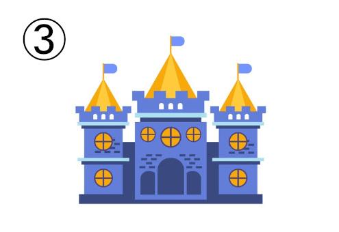 黄色、くすみブルーの丸窓のお城