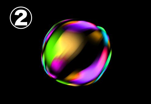 紫、水色、ピンク、赤、水色、緑、黄色のビビットなグラデーションのバブル