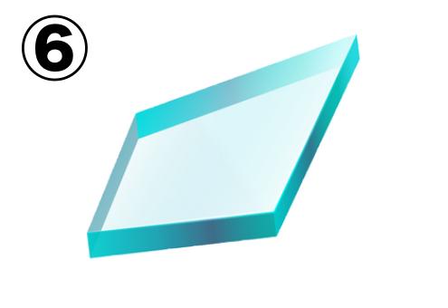平行四辺形のようなガラス片