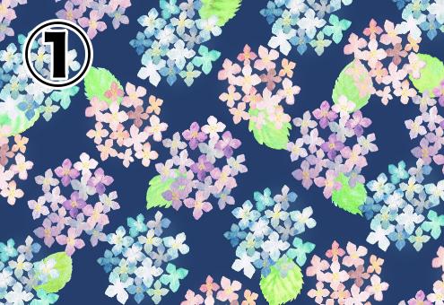 ネイビー背景に、パターン化して並んだピンクと水色のあじさいの絵