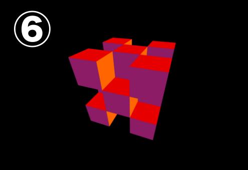 紫、オレンジ、赤でできたキューブ