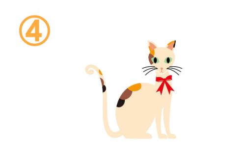 赤いリボンをした三毛猫