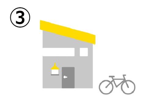自転車の側の、黄色い斜め屋根の家