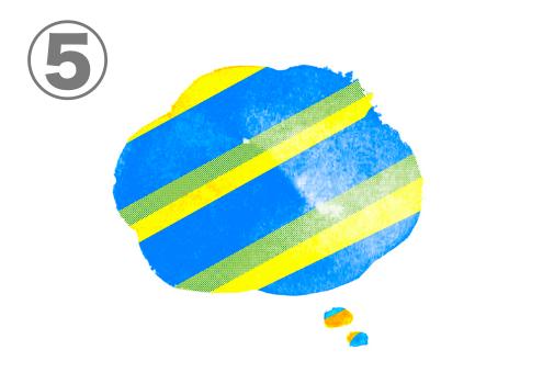 黄色、緑、青のボーダーの、想像吹き出し