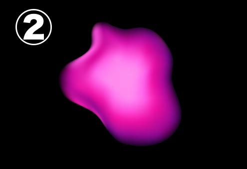 うねりの少ないピンクのアメーバ
