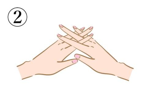 両手の指をクロスさせている絵