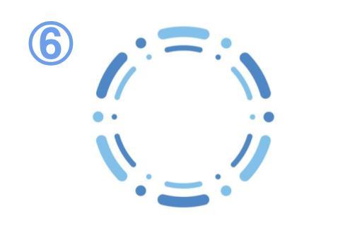 青と水色の、点と線でできた二重のフレーム