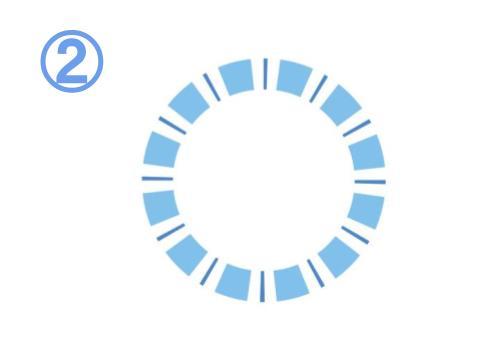 水色と青の、太い線と細い線でできたフレーム