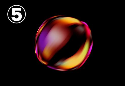 赤、紫、黄色、オレンジのグラデーションのバブル