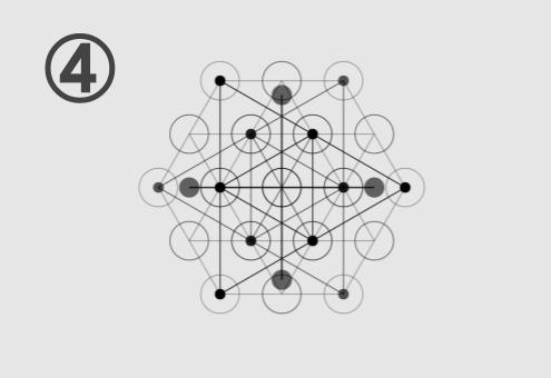 六角形、星型、丸が組み合わさってできた図