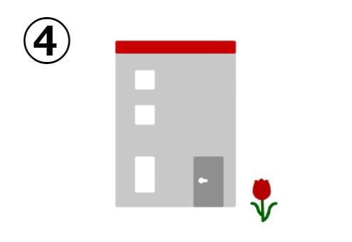 チューリップの側の四角い赤い屋根の家