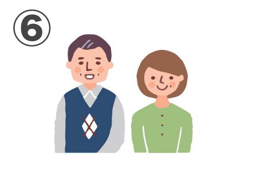 茶髪、シャツ、アーガイルベストの男性と、明るい茶髪、黄緑のカーディガンの女性の中年夫婦