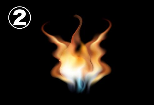 3方向に伸びる炎