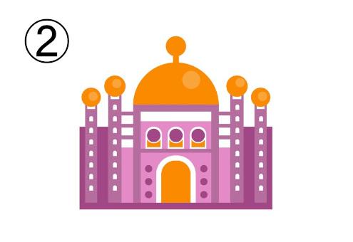 オレンジとピンクの、タージマハル風のお城