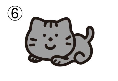 伏せをした猫