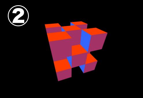 暗い赤、青、朱色のキューブ