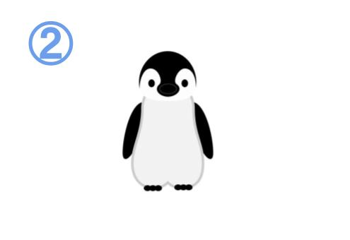正面を向くペンギン