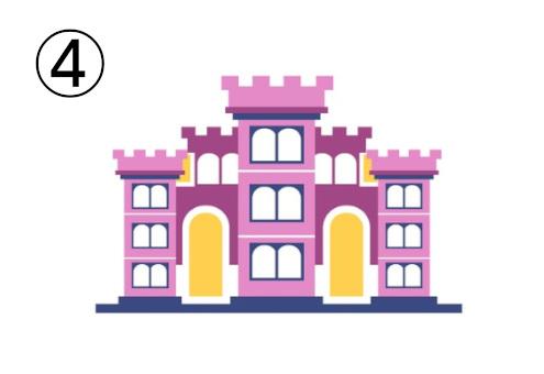 ピンク、黄色、赤紫の、塔が集まったようなお城