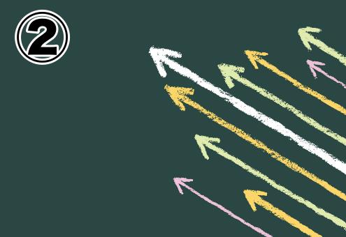 背景濃い緑、白、オレンジ、黄緑、ピンクの矢印
