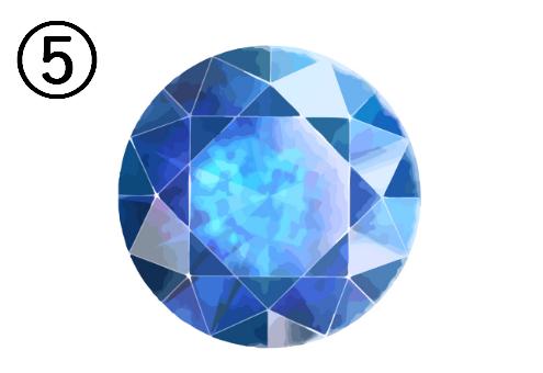 正面を向いた青い宝石