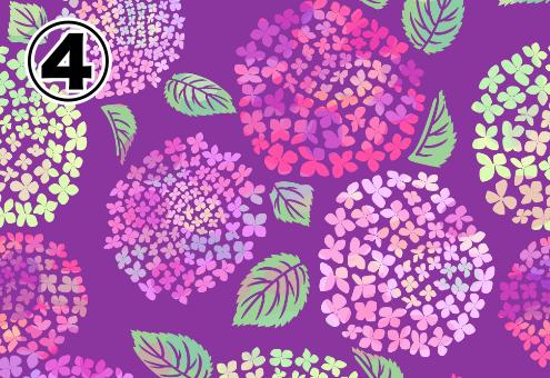 赤紫背景に、ピンク、紫、黄色のグラデーションなステンシル調の紫陽花の絵